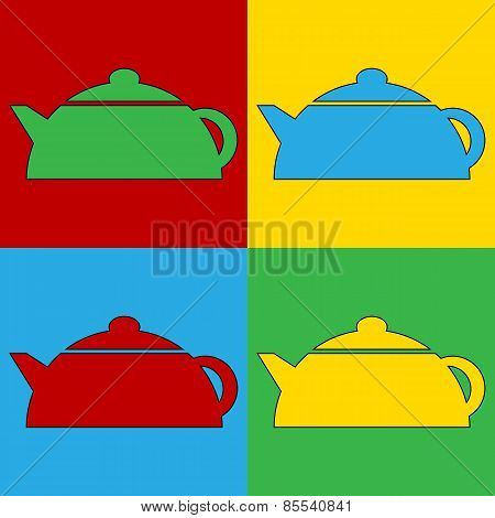 Pop Art Kettle Symbol Icons.
