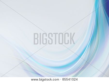 Transparent wave with blue and purple shades on a light blue background