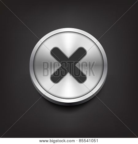 Rejected sign on silver button