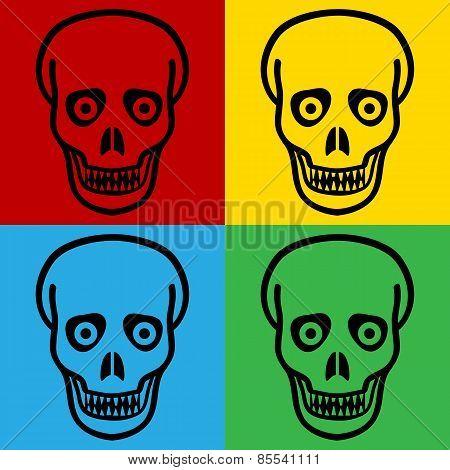 Pop Art Zombie Symbol Icons.