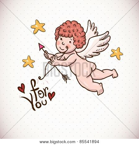 Doodle Vintage Greeting Card with Cartoon Cupid