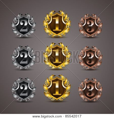 Set of luxury golden vector shields