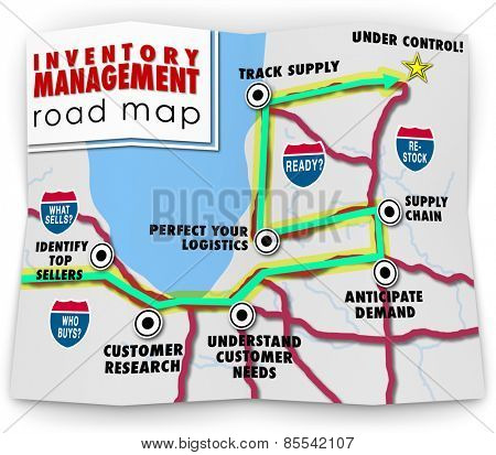 Inventory Management words on a road map offering tips, advice, information, directions and instruction on running a business that stocks and sells products through logistics and control