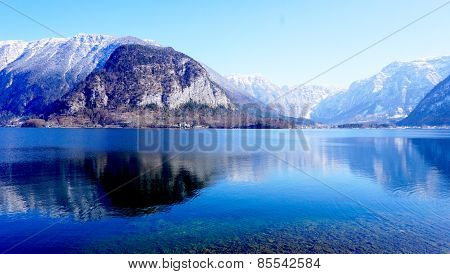 Mountain And Lake Of Hallstatt
