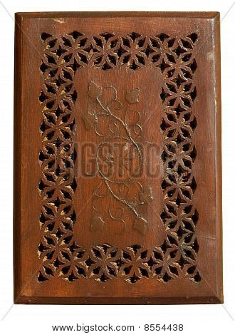 Carved Wooden Panel With Detail Isolated