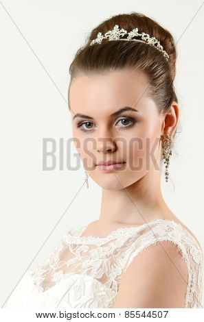 Portrait of the bride with big beautiful eyes