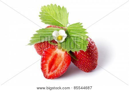 The fresh strawberry isolated on white background