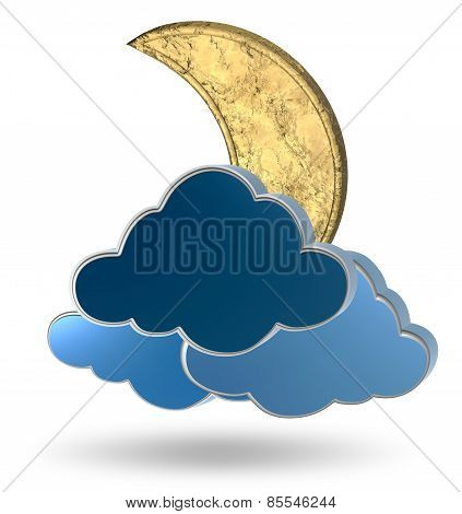 Gold crescent moon and clouds