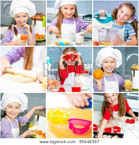 photo collage of girl makes dough and bake cookies