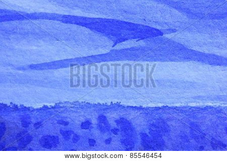 Cobalt Blue Hue Watercolor Background 8
