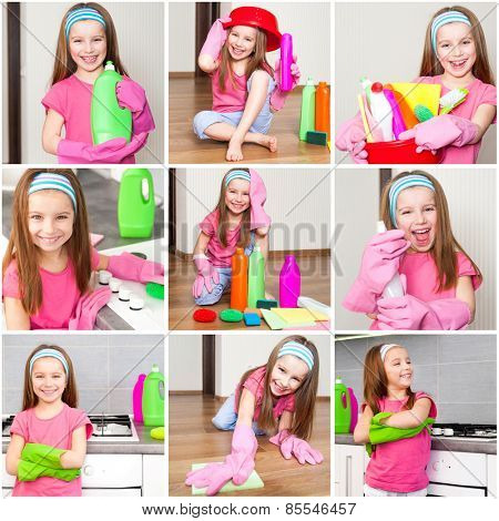 photo collage of little girl makes cleaning the kitchen detergents