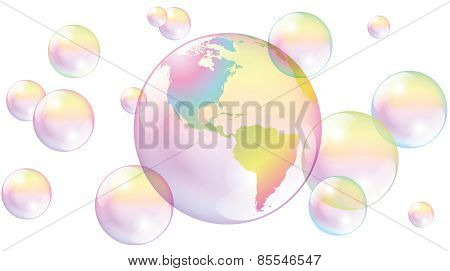 Planet Earth Soap Bubbles World