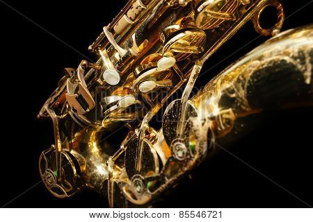 Saxophone isolated on black background