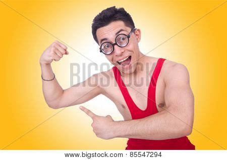 Funny wrestler isolated on white