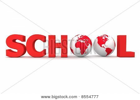 Global School In Red - Two Globes
