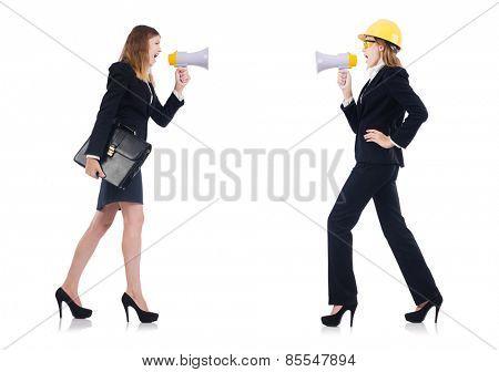 Women with helmet and loudspeaker on white