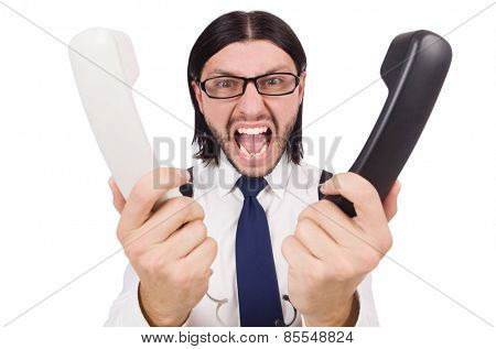 Angry businessman with phone isolated on white