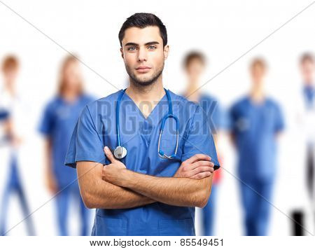 Group of doctors isolated on white