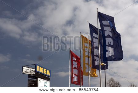 Ikea Store In Amsterdam, Flags And Bill Board
