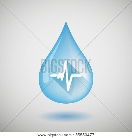 Water Drop With A Heart Beat Sign