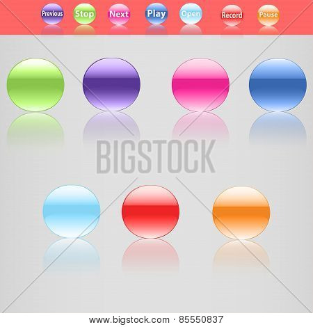 Set Of Seven Beautiful Buttons In Different Colors