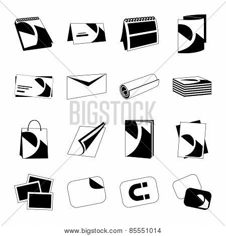 Printing house web monochrome black icons set