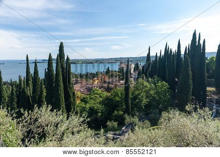 The view from the roof small old town on Lake Garda