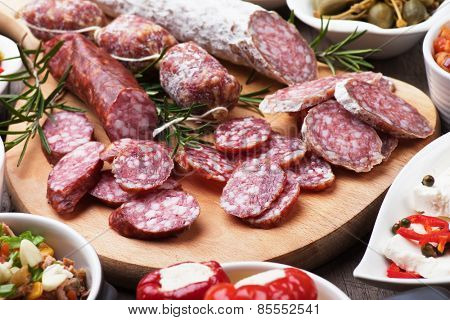 Tapas or antipasto food, mediterranean cold buffet
