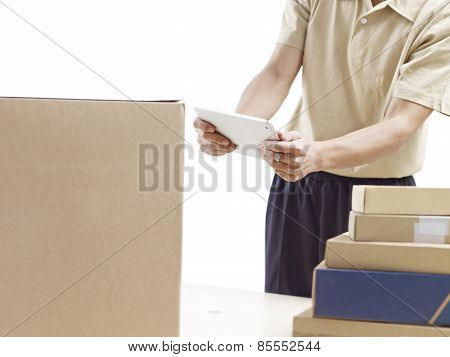 warehouse man and or delivery man at work