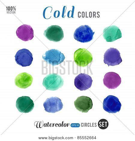 Watercolor cold palette 16 color circles