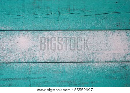 Blank teal blue worn wood sign with sand texture