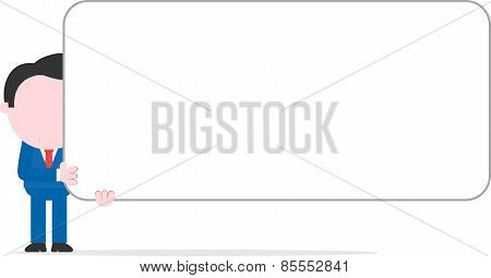 Businessman Holding Wide Blank Banner