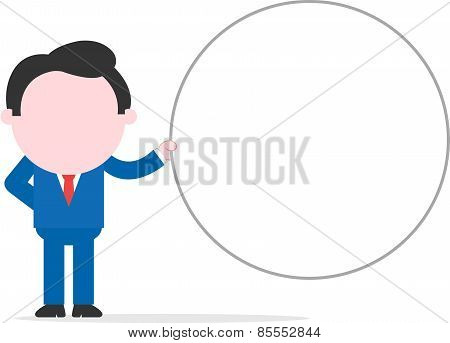 Businessman Holding Wide Blank Circle Banner