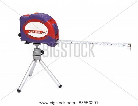 Measuring tape with laser level on a tripod