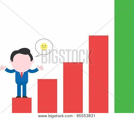 Sad Businessman Standing On Red Bar Chart