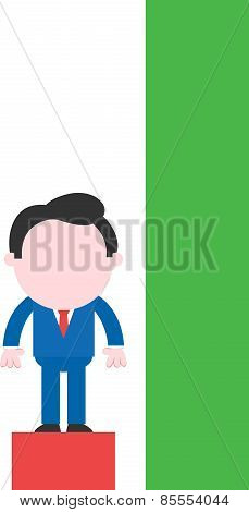 Businessman Standing On Low Red Bar