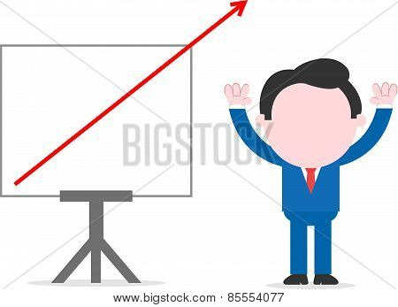 Businessman Beside Chart With Arrow Going Off Chart