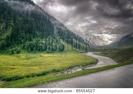 Storm Clouds Over Mountains Of Ladakh, Jammu And Kashmir, India