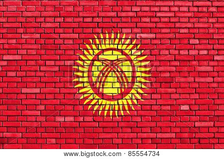Flag Of Kyrgyzstan Painted On Brick Wall