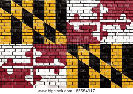 Flag Of Maryland Painted On Brick Wall