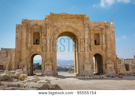 The Commemorative Arch Of Hadrian In The Ancient City Of Jersah Jordan Showing The Rear View