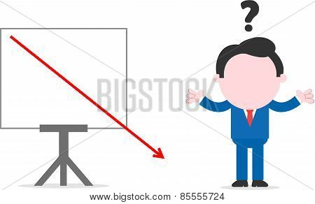 Businessman Beside Chart With Arrow Dropping