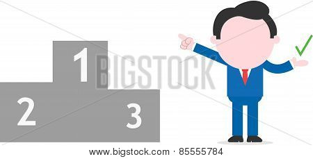 Businessman Pointing First Place Of Podium