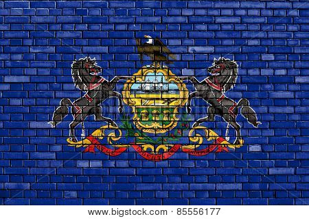 Flag Of Pennsylvania Painted On Brick Wall