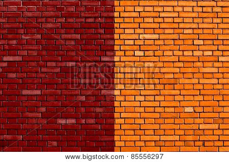 Flag Of Rome Painted On Brick Wall