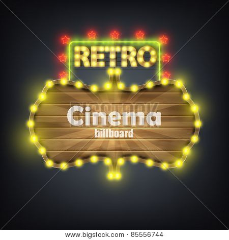 Wooden Cinema Retro Billboard Banner.