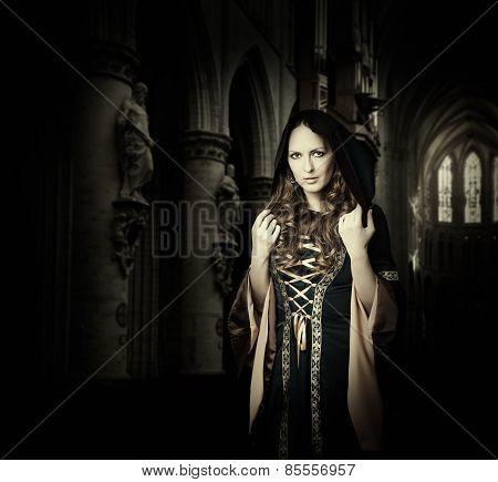 Beautiful woman wearing medieval dress