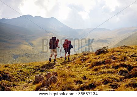hikers in the mountains