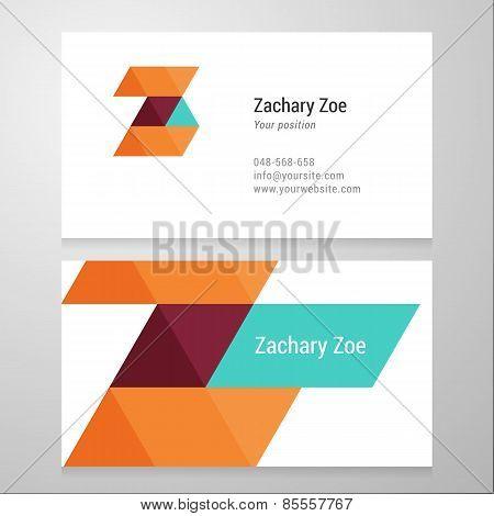 Modern Letter Z Business Card Template.
