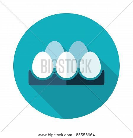 Chicken Eggs In A Tray Flat Icon With Long Shadow